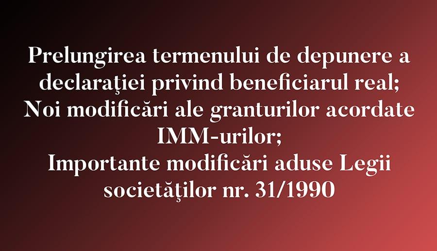 Prelungirea termenului de depunere a declaraţiei privind beneficiarul real