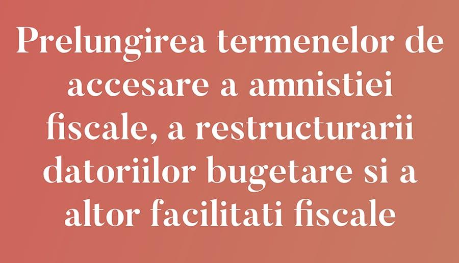 Prelungirea termenelor de accesare a amnistiei fiscale